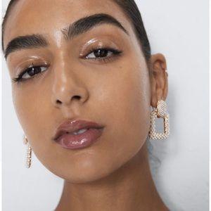 ZARA Geometric Square Gold Pearl Drop Earrings